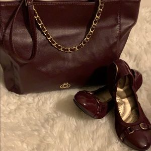 Burgundy And Gold Purse And Flats Sets